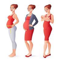 mulher grávida e trabalhadora medindo a barriga da mãe com conjunto de vetores recém-nascidos