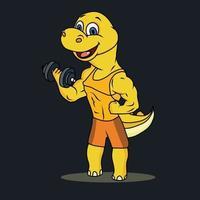 exercício de dinossauro de desenho animado vetor
