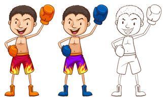 Doodle personagem para boxeador vetor