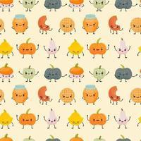 padrão sem emenda com personagem kawaii de abóboras diferentes vetor