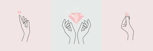 mãos abstratas cravejadas de diamante. dedos mínimos de contorno feminino vetor