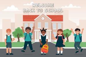 alunos de uniforme com mochilas escolares perto do prédio da escola vetor