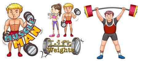 Pessoas, fazendo, weightlifting, branco, fundo vetor