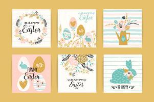 Feliz Páscoa. Modelos de vetor com design de letras