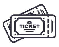 ícone de dois ingressos de cinema. ilustração vetorial plana vetor