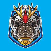 Ilustração em vetor cabeça de cachorro pug com estilo de robô cyberpunk isolado