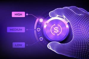 botão de botão de níveis roi. ilustração do conceito de finanças vetor
