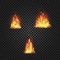 conjunto de chamas de fogo realistas vetor