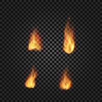 chamas de fogo realistas vetor