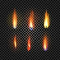 seis conjuntos de chamas de fogo realistas vetor