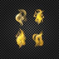 chamas de fogo realistas no fundo transparente vetor eps 10