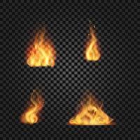 chamas de fogo realistas em fundo transparente vetor