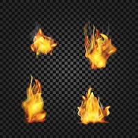 coleção de chamas de fogo realistas vetor eps 10