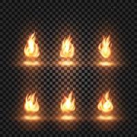vetor realista de chamas de fogo