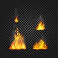 coleção de vetores de chamas de fogo realistas
