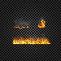 Conjunto de vetores de chamas de sprites de animação de fogo realista