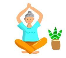 mulher idosa fazendo exercícios de ioga. esporte para idosos vetor