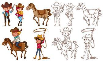 Cowboys e cavalos em cores e linhas vetor