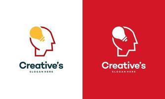 logotipo de pessoas criativas com vetor de conceito de lâmpada, lâmpada de cabeça humana