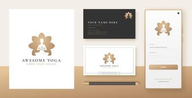 meditação de ioga em forma de flor logo design vetor