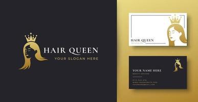 design de logotipo gradiente ouro feminino cabeleireiro vetor