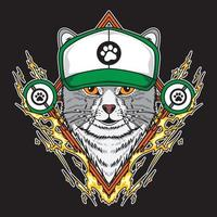 gato usando chapéu de caminhoneiro e ilustração em vetor elemento relâmpago