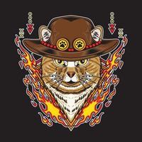 gato usando chapéu de palha e ilustração vetorial de elemento fogo vetor