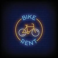aluguel de bicicleta letreiro de néon na parede de tijolos vetor