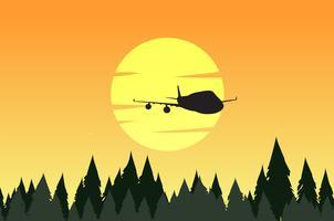 Cena fundo, com, silueta, floresta, e, avião vetor