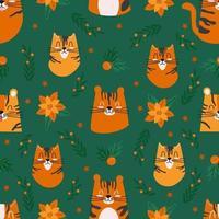 padrão sem emenda com personagens fofinhos tigres e decorações de natal vetor