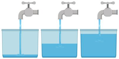 Água da torneira em baldes vetor