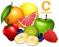 Um conjunto de frutas vitamina C vetor