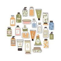 costura padrão com cosméticos orgânicos. um conjunto de garrafas e tubos, potes vetor