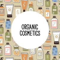 costura padrão com cosméticos orgânicos com lugar para texto. vetor