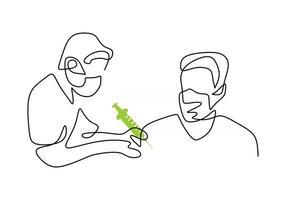 desenho de linha contínua de um médico em máscara protetora vetor