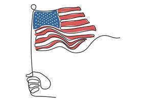 um desenho de linha única contínua de mão segurando a bandeira americana vetor