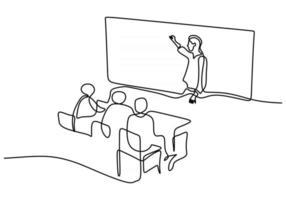 desenho de linha contínua de um professor explicando em sala de aula vetor