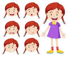 Garota de cabelo vermelho com expressões faciais vetor