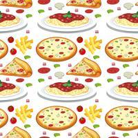 Macarrão e pizza sem costura padrão vetor