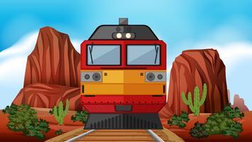 Passeio de trem pelo deserto vetor