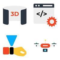 pacote de ícones planos de comunicação e negócios vetor