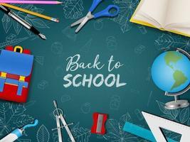 pôster de volta às aulas com acessórios e rabiscos realistas vetor