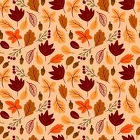 Padrão sem emenda com folhas de outono desenhadas à mão em estilo infantil vetor