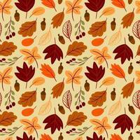 padrão sem emenda com folhas de outono desenhadas à mão em estilo infantil simples vetor
