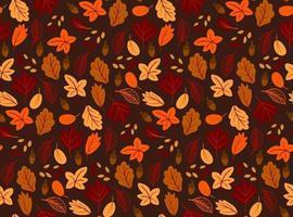 padrão sem emenda com folhas de outono, estilo simples em fundo preto. vetor