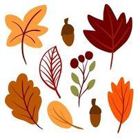 folhas de outono desenhadas à mão em estilo escandinavo simples vetor