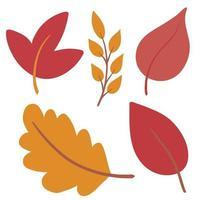 folhas de outono desenhadas à mão em estilo simples e plano vetor