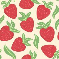padrão sem emenda fofo com morangos suculentos vermelhos brilhantes desenhados à mão vetor