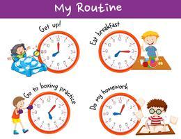 Diferentes horários e atividades para crianças vetor