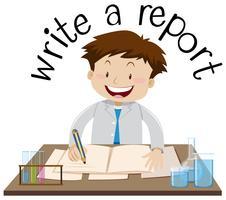 Design de cartão de memória para escrever um relatório vetor